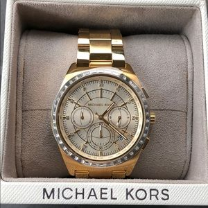 NWT Michael Kors chronograph watch crystals gold